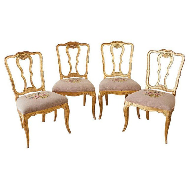 Set of Four Italian Giltwood Venetian Style Dining Chairs For Sale - Image 13 of 13