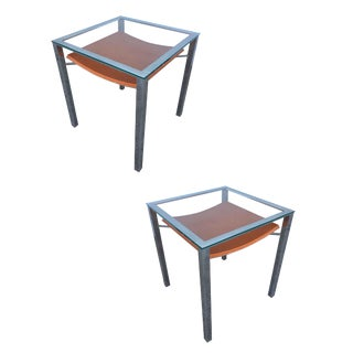 Chrome Tubular Glass Top Side Tables With Leather Wrapped Magazine Rack - a Pair For Sale