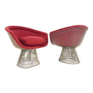 Warren Platner for Knoll Lounge Chairs Restored in Loro Piana Red Cashmere - Pair For Sale