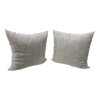 Custom Cream Linen Navy Geometric Design Pillows - A Pair For Sale