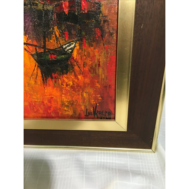 Vintage 1960s Abstract Sailboats Painting - Image 6 of 9