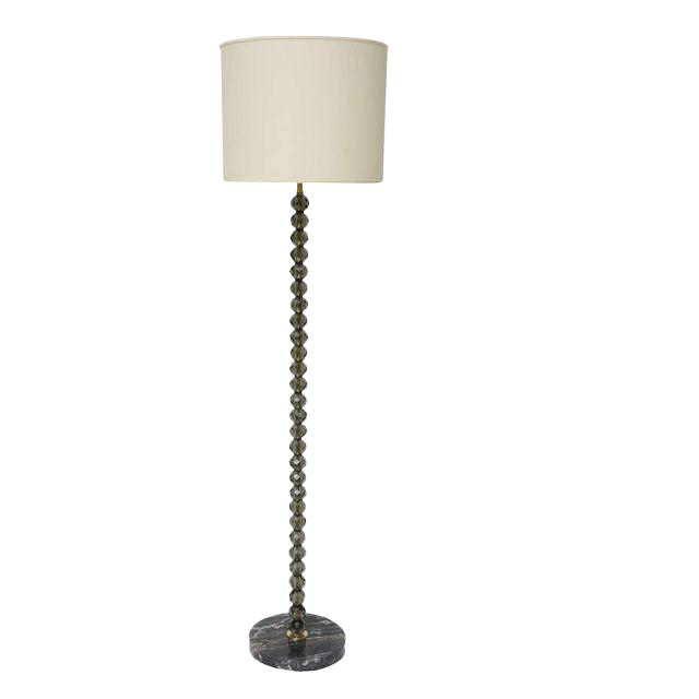 World Class Faceted Smoke Crystal Floor Lamp Decaso