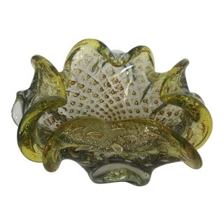 1950s Italian Murano Yellow and Gold Fleck Glass Bowl Ashtray For Sale