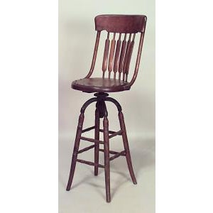 Americana American Victorian oak bookkeepers chair with swivel and pierced seat and spindle back For Sale - Image 3 of 3