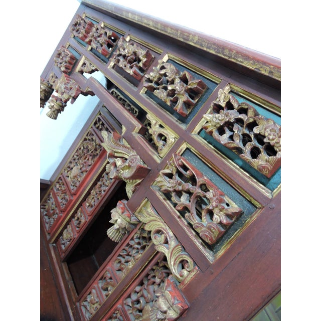 20th Century Ornate Asian Red & Gold Carved Console Table, Thai 'Spirit House' For Sale In Tampa - Image 6 of 10