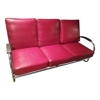 1930s Danish Modern Retro Red Leather and Chrome Sofa/Bench For Sale