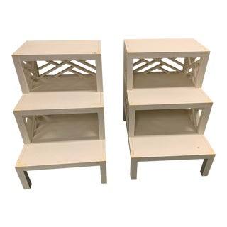 White Chippendale Side Tables - A Pair For Sale