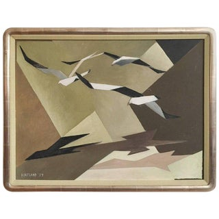 Mid Century Modern Abstract Seagulls Painting