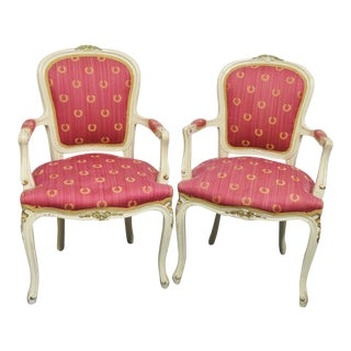 Louis XV Style Cream & Gold Chairs - A Pair For Sale