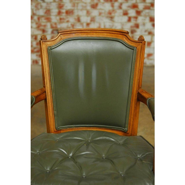 Louis XVI Style Leather Fauteuil Armchairs - A Pair - Image 5 of 10