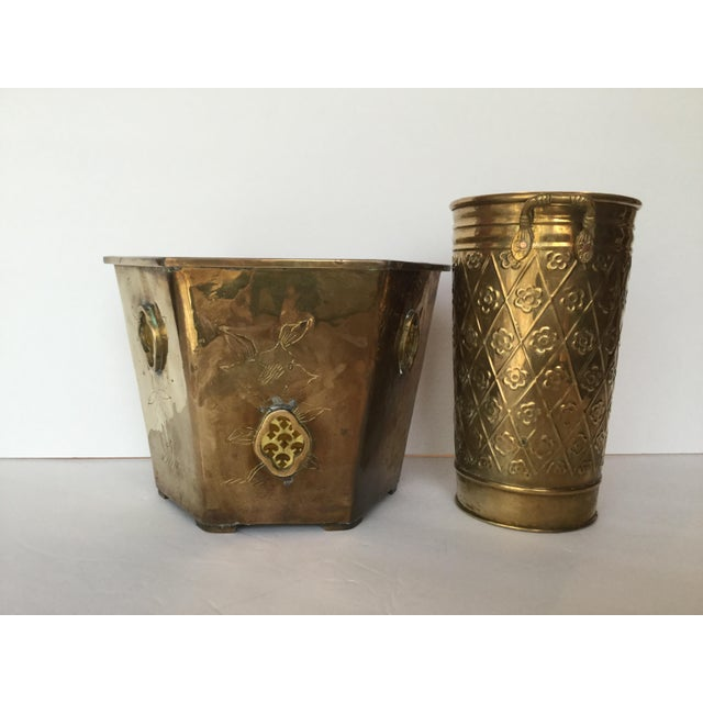 Boho Chic 1980s Vintage Brass Planters - A Pair For Sale - Image 3 of 10