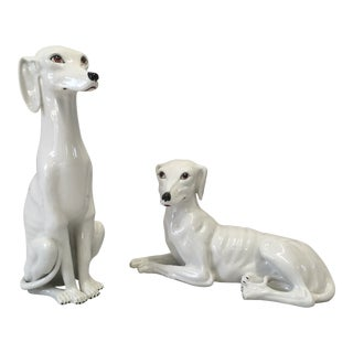 Italian Ceramic Hounds, a Pair For Sale