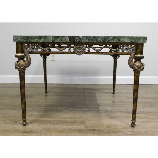 Green Maitland Smith Neo-Classical Square Marble Top Bronze and Iron Game Table For Sale - Image 8 of 13