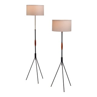 Pair of Svend Aage Holm Sørensen Floor Lamps, 1960s For Sale