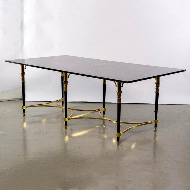 Italian Directoire Style Table With Black Marble Top and Brass Base For Sale - Image 13 of 13