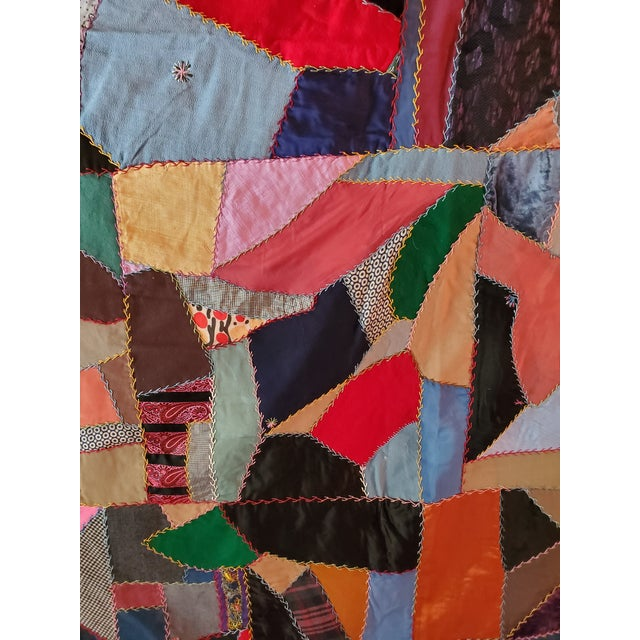 Antique American Crazy Quilt, Patchwork of Geometric Colors For Sale - Image 4 of 11