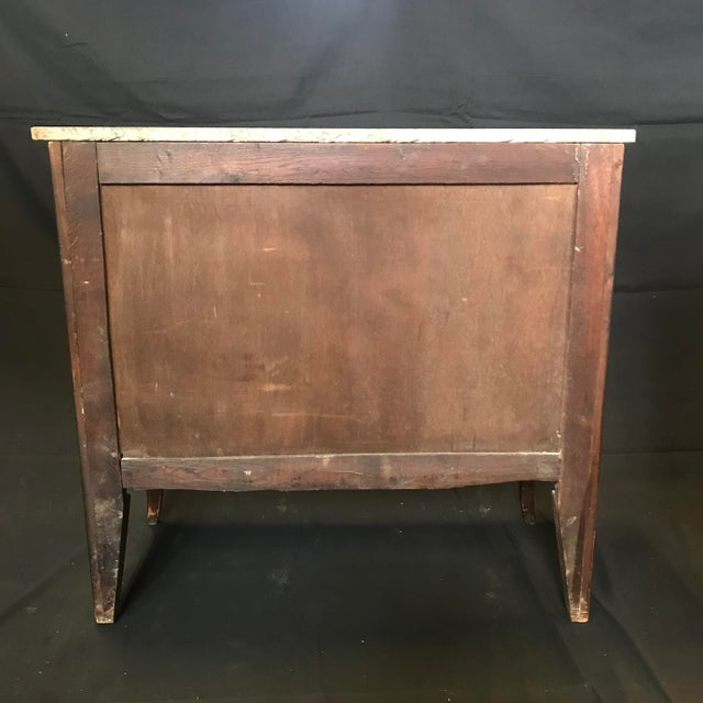 1940s Vintage French Louis XVI Style Marquetry Inlaid Petite Commode For Sale - Image 10 of 13