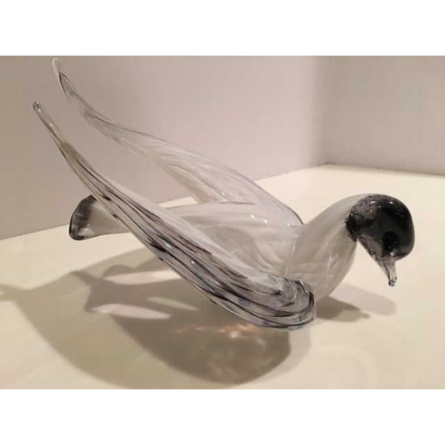1960s Mid-Century Modern Murano Black & White Glass Bird Figurine For Sale In Detroit - Image 6 of 12