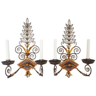 Baguès Style Crystal and Wrought Iron Wall Sconces, Circa 1925 For Sale