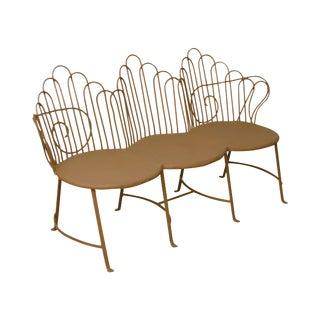 Salterini Vintage Art Deco Wrought Iron Triple Seat Garden Settee
