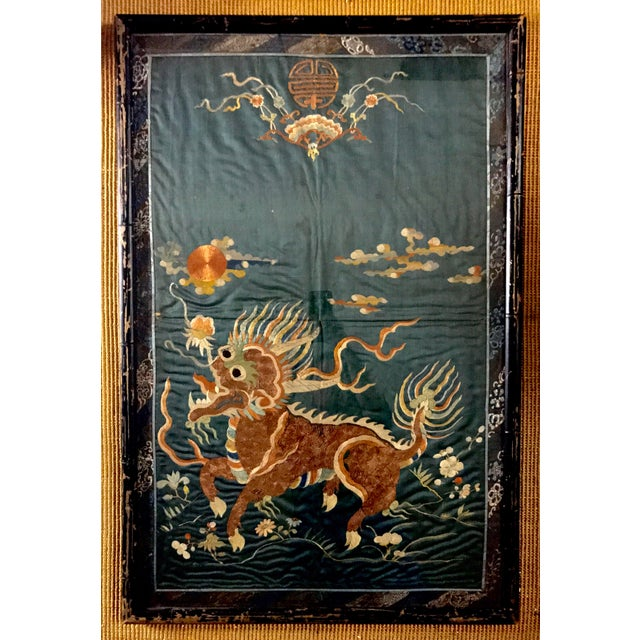 Art Deco 19th Century Qing Dynasty Imperial Chinese Silk Framed Tapestry Panel For Sale - Image 3 of 8