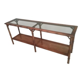 1960s Hollywood Regency Faux Bamboo Solid Wood Sofa Table