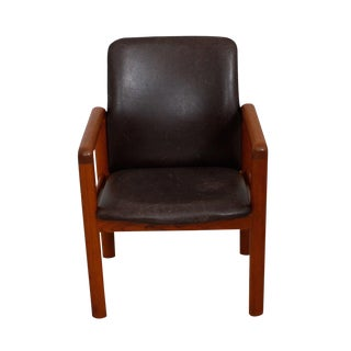 Danish Modern Teak & Distressed Leather Arm Chair For Sale