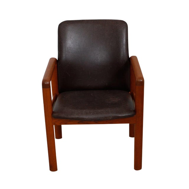 Danish Modern Teak & Distressed Leather Arm Chair For Sale