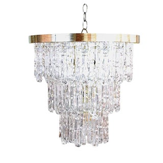 Tiered Lucite Icicle Chandelier For Sale