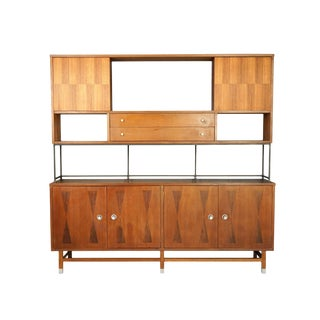Mid-Century Modern Stanley Rosewood & Walnut Cabinet For Sale