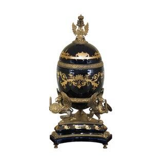 Castilian Russian Blue Porcelain & Bronze Lid Vase Egg Urn