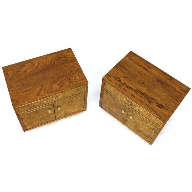 Brown Light Burl Wood Campaign Nightstands Bed Tables Brass Hardware - A Pair For Sale - Image 8 of 13