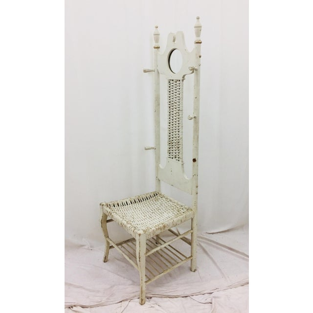 Antique White Antique Victorian Coat Rack - Hall Chair For Sale - Image 8 of 11