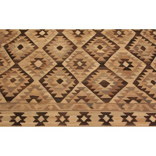 Arie Lt. Tan/Lt. Brown Hand-Woven Kilim Wool Rug -9'5 X 12'4 For Sale