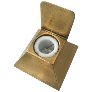 Egyptian Revival Brass Pyramid Inkwell With Milk Glass Holder For Sale