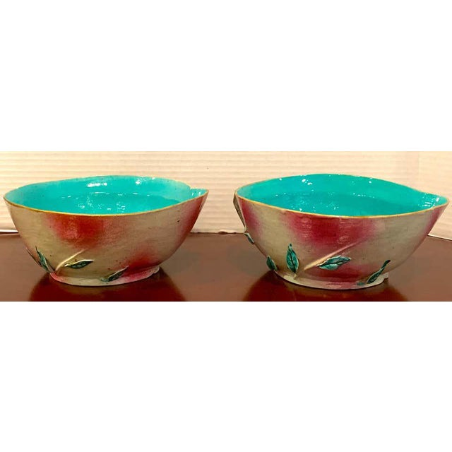 Pair of Chinese Export Famille Rose Altar Fruit Peach Bowls For Sale - Image 10 of 12