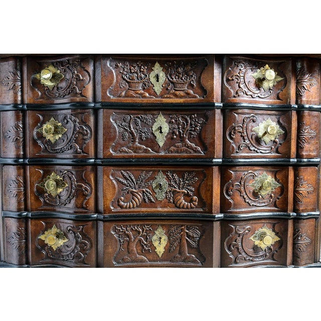 Metal Portuguese Cabinet With Four Seasons Carving For Sale - Image 7 of 10