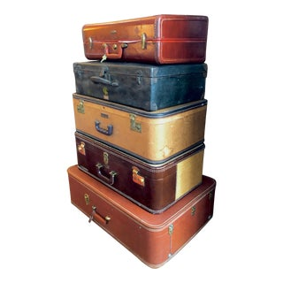 1950s Vintage Stackable Suitcases-Set of 5 For Sale