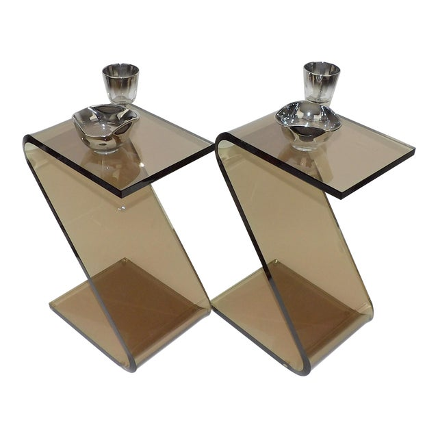 """Acrylic Shlomi Haziza Acrylic Bent Lexan Lucite """"Z"""" End Tables / Nightstands - a Pair For Sale - Image 7 of 12"""