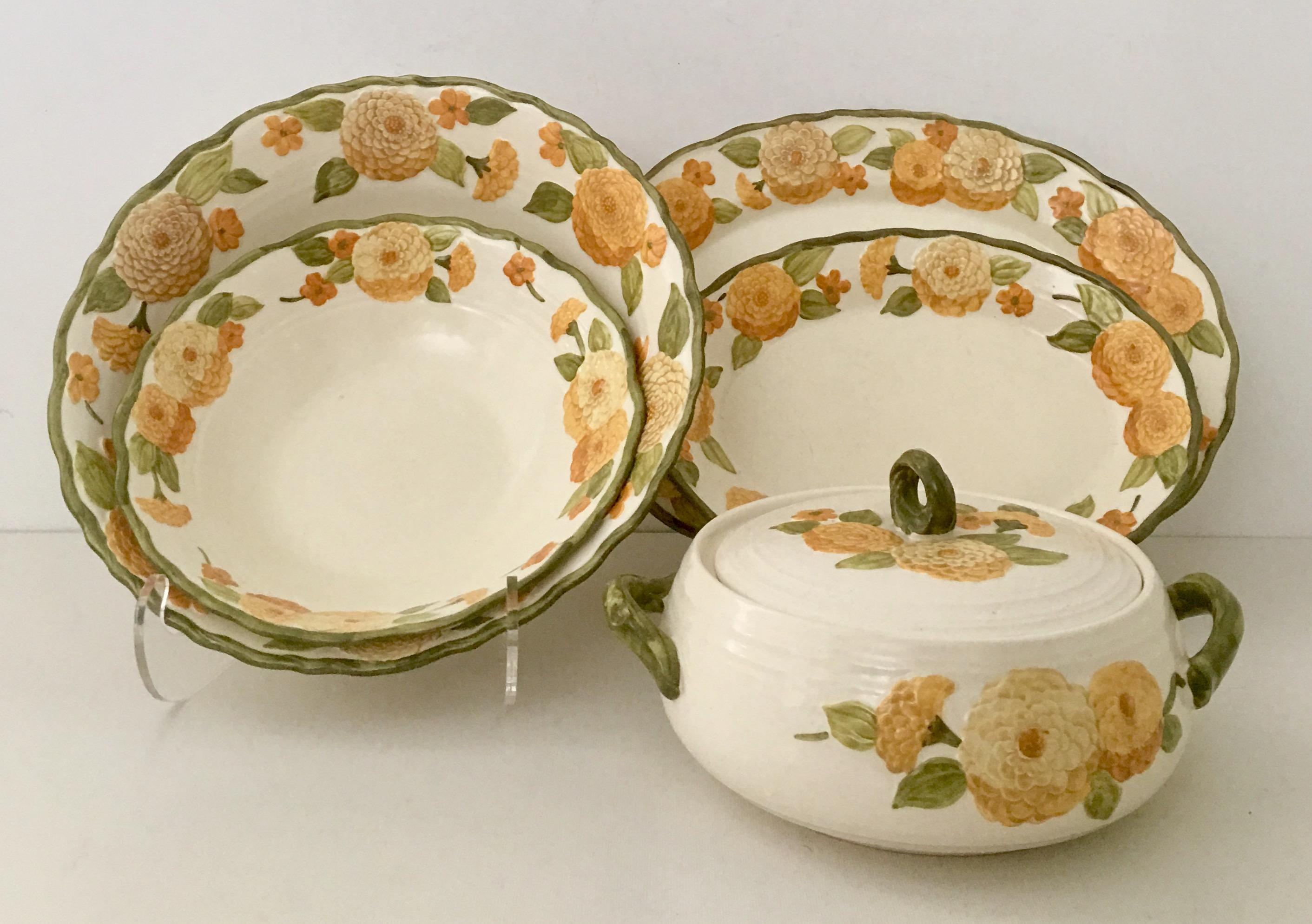 1960s Ceramic Metlox  Zinnia  Dinnerware - Set of 6 - Image ...  sc 1 st  Chairish & 1960s Ceramic Metlox