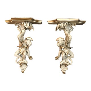 Pair of Vintage Composite Monkey Wall Shelves or Brackets