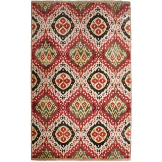 """Ikat Hand-Knotted Luxury Rug - 7'11"""" x 10'3"""" For Sale"""