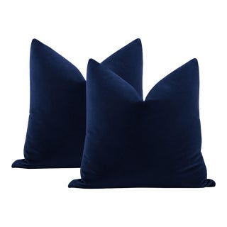 "22"" Sapphire Italian Velvet Pillows - a Pair For Sale"