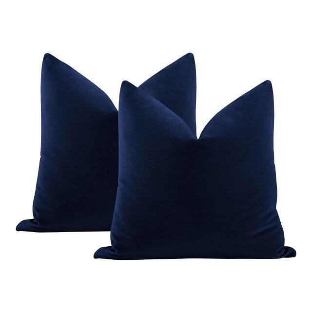 """22"""" Sapphire Italian Velvet Pillows - a Pair For Sale"""