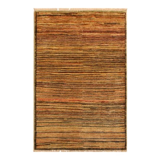 Gabbeh Peshawar Lida Tan/Brown Hand-Knotted Wool Rug -2'10 X 4'9 For Sale