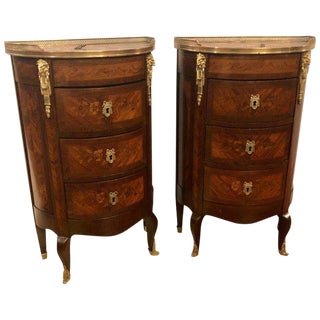 19th Century Vintage Bronze Mounted Demilune End Tables- A Pair For Sale