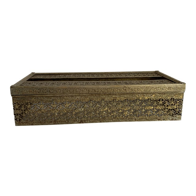 Midcentury Brass Decor Tissue Box For Sale