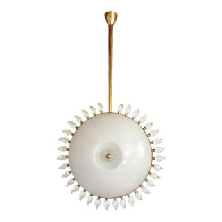 Large Mid-Century Modern Sunflower Murano Glass & Brass Chandelier, Cenedese For Sale