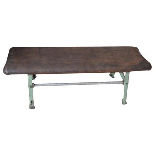Bench of Suede Leather With Industrial Forged Iron Base, Early 20th Century For Sale
