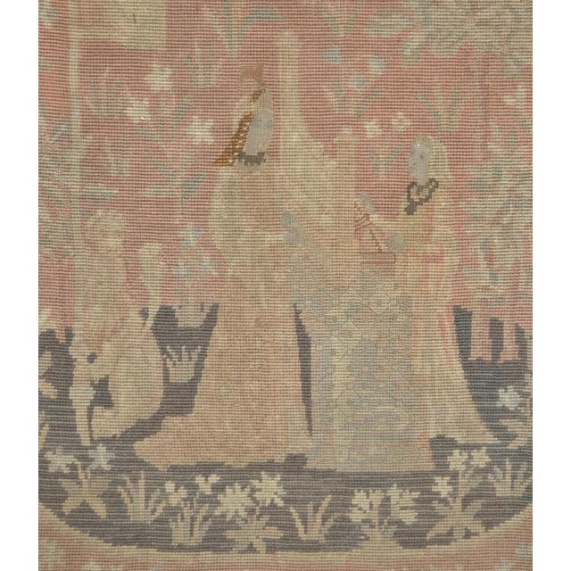 Victorian English Embroidered Tapestry Circa 1900 Old tapestry fragment. The scene shows a woman playing a harp. The...